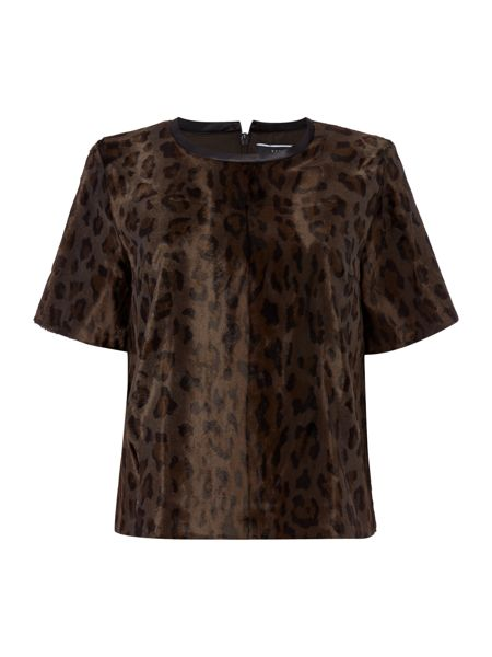 Sportmax Code Leopard smooth faux fur top