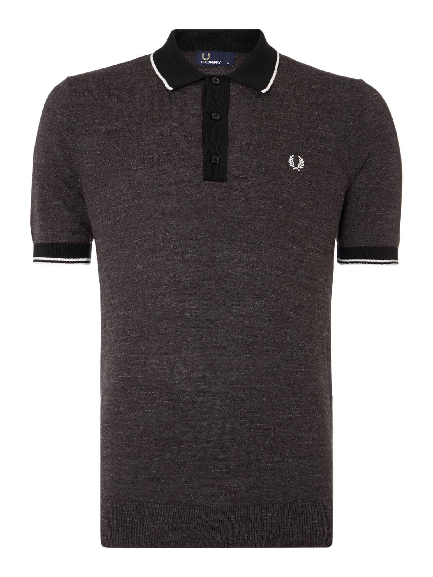 Mens Fred Perry Budding Yarn Knitted Polo Shirt Graphite