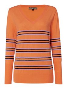 Skinny stripe V neck jumper