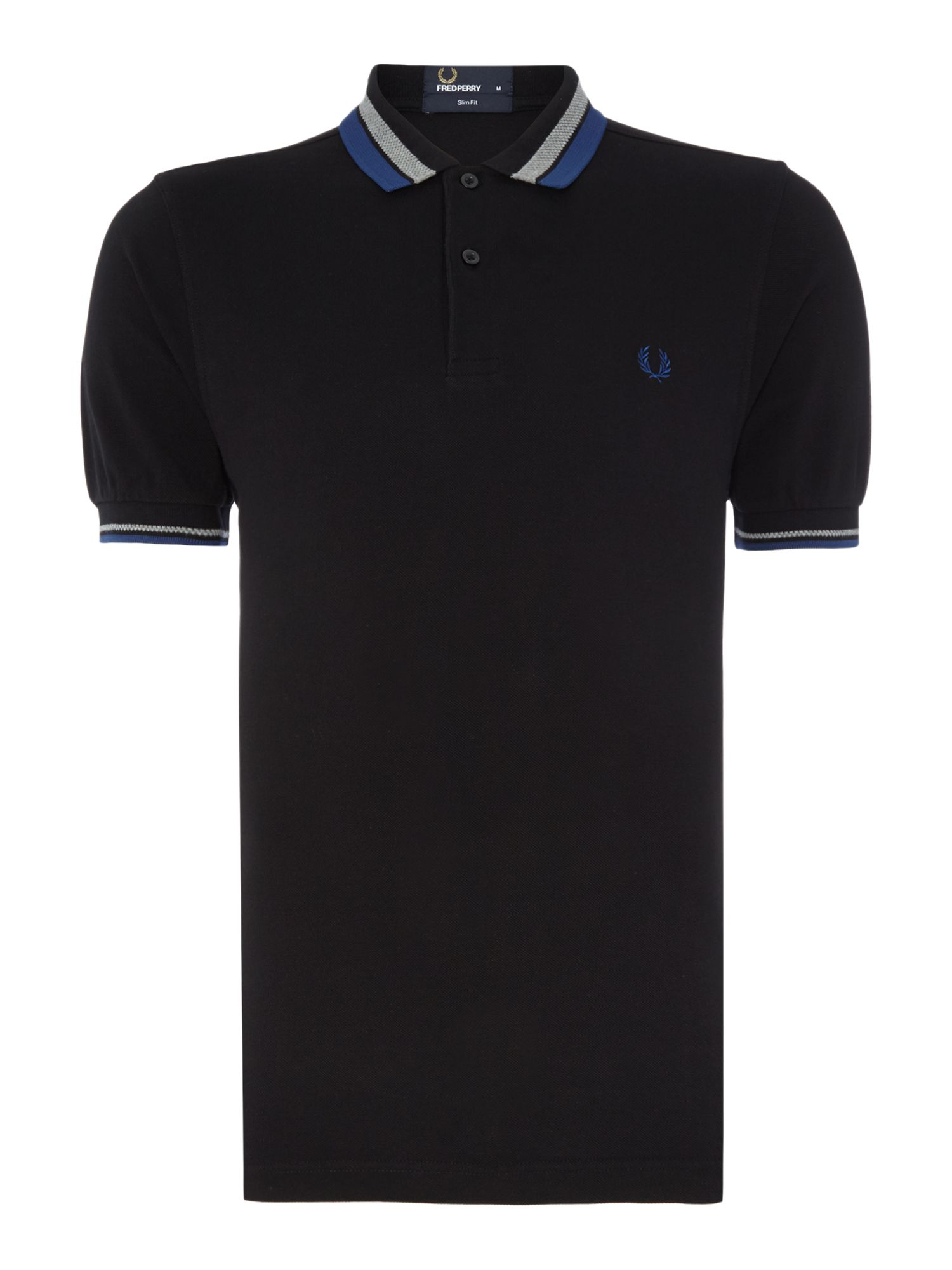 Mens Fred Perry Polo Textured Bold Tipped Polo Shirt Black