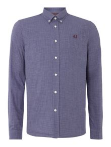Fred Perry Micro Marl Gingham Long Sleeve Button Down Shirt