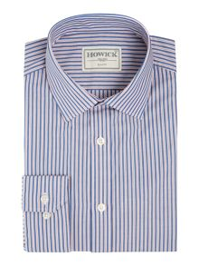 Howick Tailored Alpena Blue Double Stripe Slim Fit Shirt
