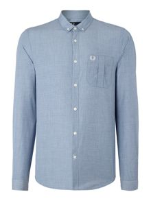 Fred Perry End On End Plain Long Sleeve Button Down Shirt