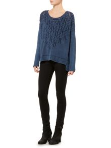 Overwashed pointelle jumper