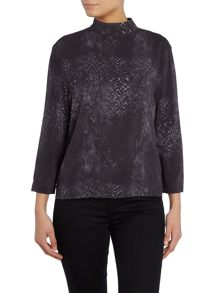 Calvin Klein Elke long sleeve zip neck top in snake