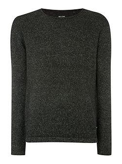 Textured Crew Neck Pull Over Cardigan