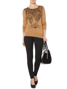 Printed leopard crew neck jumper