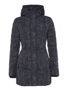 Audrey printed heather padded coat in snake