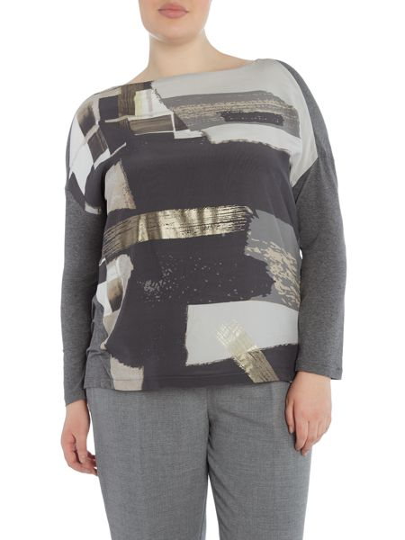 Marina Rinaldi Pattern mix long sleeve top
