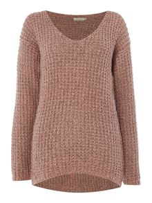 Calvin Klein Claire v neck waffle jumper in rosette
