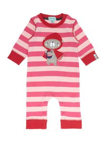 Girls Striped Red Riding Hood All In One
