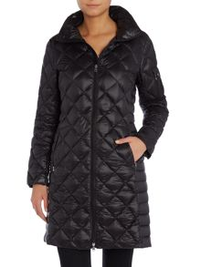 Quilted longline coat with diamond pattern