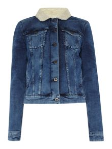 Sharleen trucker jacket in spectra blue stretch