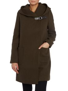 Wool hooded coat with buckle fastening
