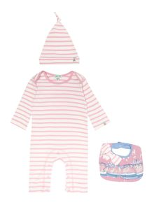 Girls Striped Hat And Bib Giftbox