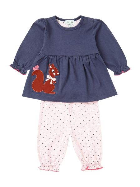 Lilly & Sid Girls Squirrel Dress With Matching Bottom Set