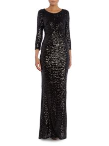 Long Sleeved Cut Out All Over Sequin Maxi Dress