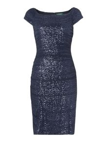 Rowena Cap Sleeve Sequin Mesh Dress