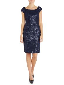 Lauren Ralph Lauren Rowena Cap Sleeve Sequin Mesh Dress