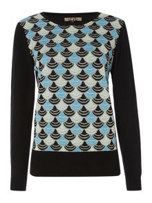 Deco jacquard knitted jumper
