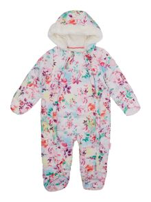 Puffa Baby Girls Floral Printed Snowsuit
