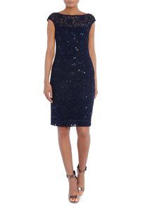 Amaia cap sleeve stretch lace dress