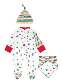 Unisex Stars And Stripes All-In-One Hat And Bib S
