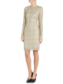 Lauren Ralph Lauren Halle floral lace dress with long sleeves
