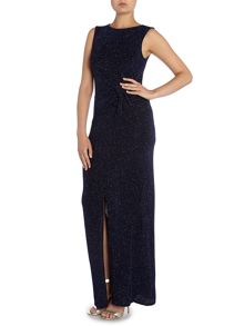 Sleeveless Round Neck Ruched Side Glitter Dress