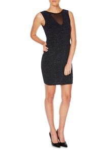 Lipsy Sleeveless Mesh Insert Glitter Bodycon Dress