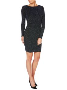 Long Sleeved Cowl Back Glitter Bodycon