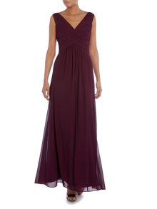 Lauren Ralph Lauren Bex sleeveless gown with rouched waist