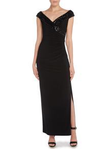Lerana V neck sequin jersey gown