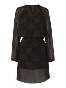 Lauren Ralph Lauren Kamlai long sleeve peasant dress