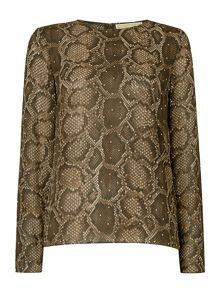 Michael Kors Long sleeve columbia embellished top