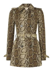 Short printed trench coat