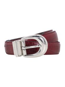 Lanesborough burgundy 1 reversible croc belt