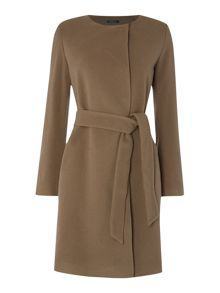 Belted collarless wool coat