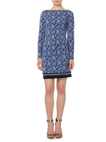Long sleeve arundel print boatneck dress