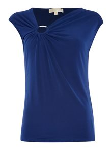Sleeve less shirred ring top