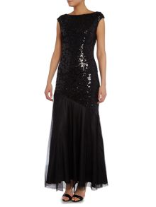 Jaxie cap sleeve sequin gown with tulle