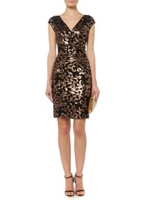 Lauren Ralph Lauren Willard cap sleeve rose sequin dress