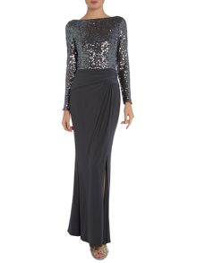 Oleanne long sleeve sequin gown