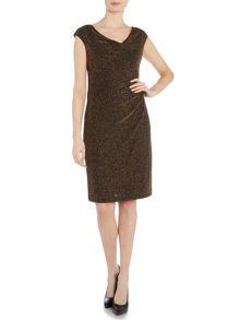 Lauren Ralph Lauren Valli metallic cowl neck dress