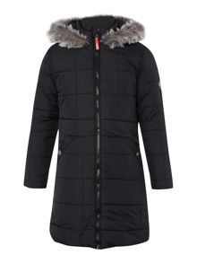 Girls Quilted Hooded Long Line Jacket