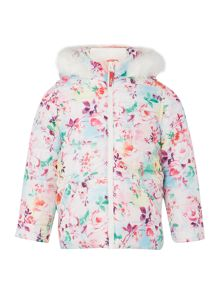 Puffa Girls Quilted Hooded Trim Digital Floral Print Ja