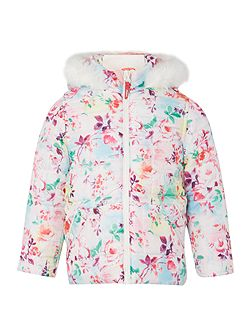 Girls Quilted Hooded Trim Digital Floral Print Ja