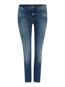 Mid rise skinny jean in patina blue stretch