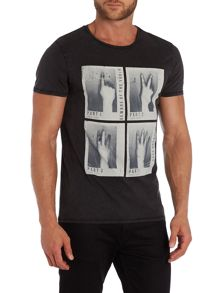 Traverso regular fit finger printed t shirt