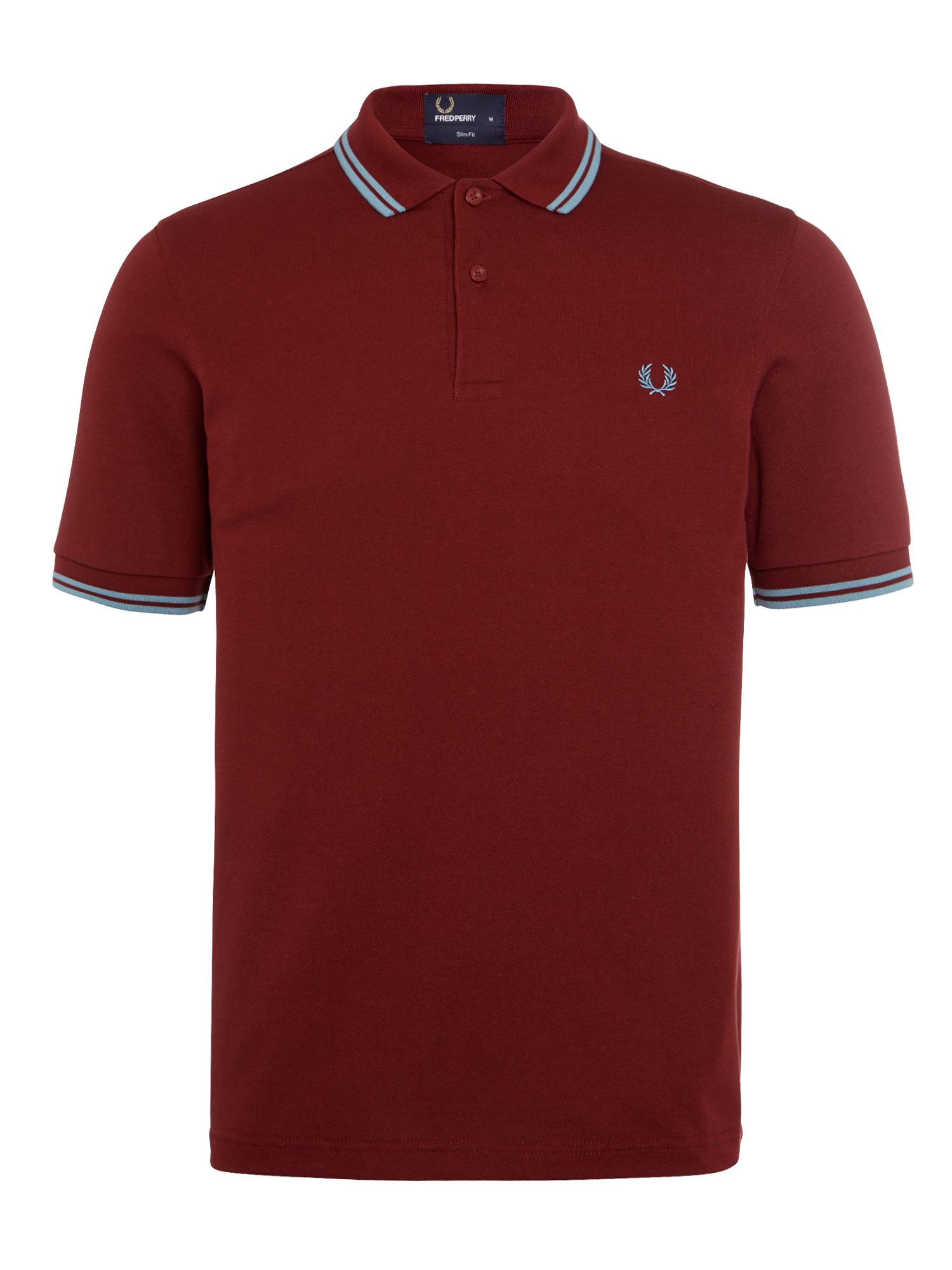 Mens Fred Perry Twin Tipped Slim Fit Polo Shirt Port